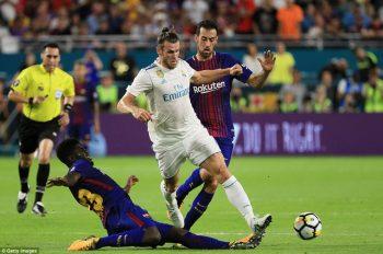 Bale chơi nhạt nhòa, khi bị cả Umtiti lẫn Busquets theo kèm
