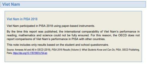 Tại sao Việt Nam không có tên trong bảng xếp hạng PISA 2018?