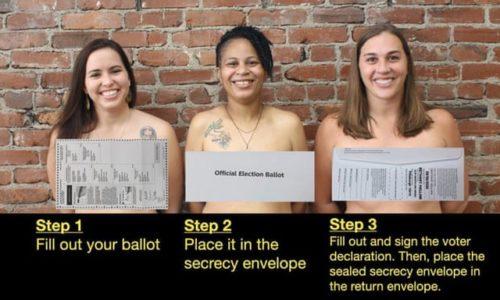 Ba nữ chính trị gia Mỹ khỏa thân cảnh báo cử tri về phiếu bầu trần trụi - 1