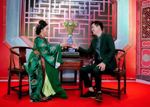 Đoàn Minh Tài diện trang phục cổ trang khi hóa thân thành Kim Trọng trong sự kiện - Ảnh 4.